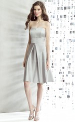Silver Satin A-line Strapless Short Bridesmaid Dresses (NZBD06886)