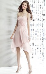 Blushing Pink Chiffon A-line Sweetheart Asymmetrical Bridesmaid Dresses (NZBD06889)
