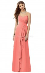 Watermelon Chiffon A-line Sweetheart Long Bridesmaid Dresses (NZBD06892)