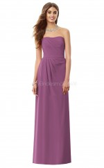 Dark Fuchsia Chiffon A-line Strapless Long Bridesmaid Dresses (NZBD06893)