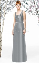 Gray Satin Sheath Scoop Long Bridesmaid Dresses (NZBD06896)