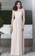 Nude Chiffon A-line One Shoulder Floor-length Vintage Bridesmaid Dresses (NZBD06897)