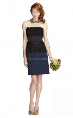 Dark Navy Chiffon , Lace Sheath Strapless Short Vintage Bridesmaid Dresses (NZBD06899)