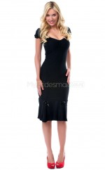 Black Knitwear Knee Length Vintage Bridesmaid Dresses (NZBD06901)