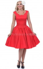 Red Taffeta Knee Length Vintage Bridesmaid Dresses (NZBD06903)