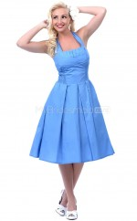 Sky Blue Taffeta Knee Length Vintage Bridesmaid Dresses (NZBD06911)