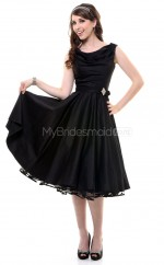 Black Satin Knee Length Vintage Bridesmaid Dresses (NZBD06916)