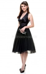 Black Organza Knee Length Vintage Bridesmaid Dresses (NZBD06917)