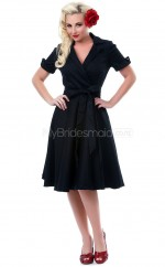 Black Satin Knee Length Vintage Bridesmaid Dresses (NZBD06919)