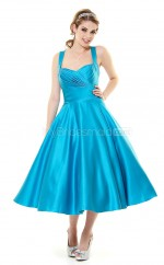 Jade Satin Tea Length Vintage Bridesmaid Dresses (NZBD06920)