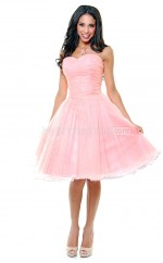 Pearl Pink Chiffon Knee Length Vintage Bridesmaid Dresses (NZBD06921)