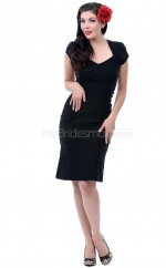 Black Knitwear Knee Length Vintage Bridesmaid Dresses (NZBD06926)