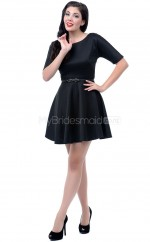Black Satin Mini/Short Vintage Bridesmaid Dresses (NZBD06927)