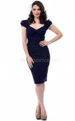 Dark Navy Knitwear Knee Length Vintage Bridesmaid Dresses (NZBD06929)