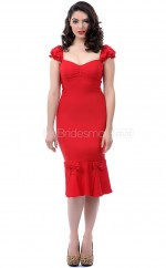 Red Knitwear Knee Length Vintage Bridesmaid Dresses (NZBD06930)