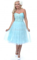Pool Tulle Knee Length Vintage Bridesmaid Dresses (NZBD06932)