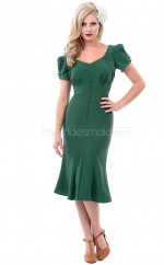 Dark Green Knitwear Knee Length Vintage Bridesmaid Dresses (NZBD06933)