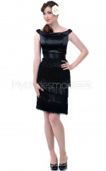 Black Satin Mini/Short Vintage Bridesmaid Dresses (NZBD06939)
