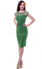 Green Satin Knee Length Vintage Bridesmaid Dresses (NZBD06948)