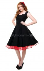 Black Satin Knee Length Vintage Bridesmaid Dresses (NZBD06952)
