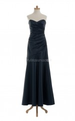 Hot Dark Navy A Line Sweetheart Satin Long Bridesmaid Dresses (BSD001)