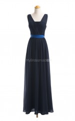 Luxurious Dark Navy A Line Straps Chiffon Long Bridesmaid Dresses (BSD011)
