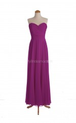 Hot Sale Fuchsia A Line Sweetheart Chiffon Long Bridesmaid Dresses (BSD015)