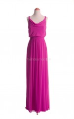 Exquisite Fuchsia A Line Cowl Chiffon Long Bridesmaid Dresses (BSD018)
