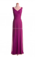 Amazing Fuchsia A Line V-Neck Chiffon Long Bridesmaid Dresses (BSD019)