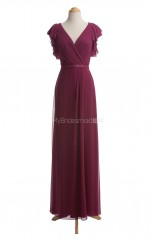 Pretty Fuchsia A Line V-Neck Chiffon Long Bridesmaid Dresses (BSD022)
