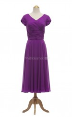 New Style Grape A Line V-Neck Chiffon Long Bridesmaid Dresses (BSD034)