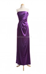 Hot Grape A Line Strapless Stretch Satin Long Bridesmaid Dresses (BSD040)