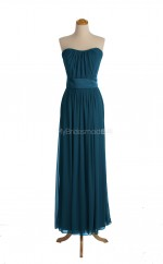 Fashion Ink Blue A Line Strapless Chiffon Long Bridesmaid Dresses (BSD051)