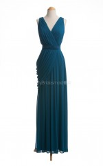 Gorgeous Ink Blue A Line V Neck Chiffon Long Bridesmaid Dresses (BSD053)