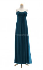 Luxurious Ink Blue A Line Sweetheart Chiffon Long Bridesmaid Dresses (BSD054)