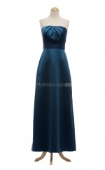 Hot Sale Ink Blue A Line Strapless Satin Long Bridesmaid Dresses (BSD056)