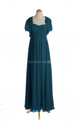 Exquisite Ink Blue A Line Straps Chiffon Long Bridesmaid Dresses (BSD058)