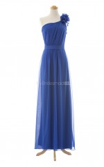 New Style Royal Blue A Line One Shoulder Chiffon Long Bridesmaid Dresses (BSD063)