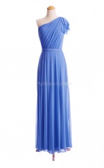 Elegant Royal Blue A Line One Shoulder Chiffon Long Bridesmaid Dresses (BSD065)
