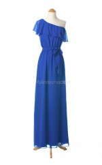 Gorgeous Royal Blue A Line One Shoulder Chiffon Long Bridesmaid Dresses (BSD066)
