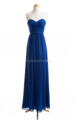 Hot Royal Blue A Line Sweetheart Chiffon Long Bridesmaid Dresses (BSD070)