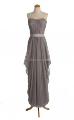 Gorgeous Silver A Line Sweetheart Chiffon Long Bridesmaid Dresses (BSD092)