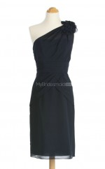 Vintage Dark Navy A Line One Shoulder Chiffon Bridesmaid Dresses (BSD096)