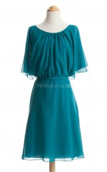 Discount Teal A Line Scoop Chiffon Short Bridesmaid Dresses (BSD101)