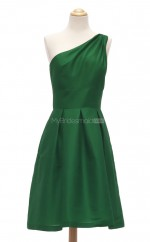 New Arrive Dark Green A Line One Shoulder Satin Bridesmaid Dresses (BSD111)