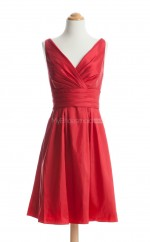 Gorgeous Red A Line V-Neck Taffeta Bridesmaid Dresses (BSD120)