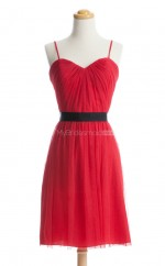 Hot Sale Red A Line V-Neck Tulle Bridesmaid Dresses (BSD123)