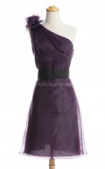 Gorgeous Grape A Line One Shoulder Organza Bridesmaid Dresses (BSD126)