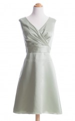 Luxurious Ivory A Line V-Neck Satin Bridesmaid Dresses (BSD127)