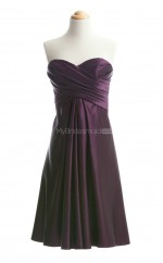 Charming Grape A Line Sweetheart Satin Bridesmaid Dresses (BSD130)